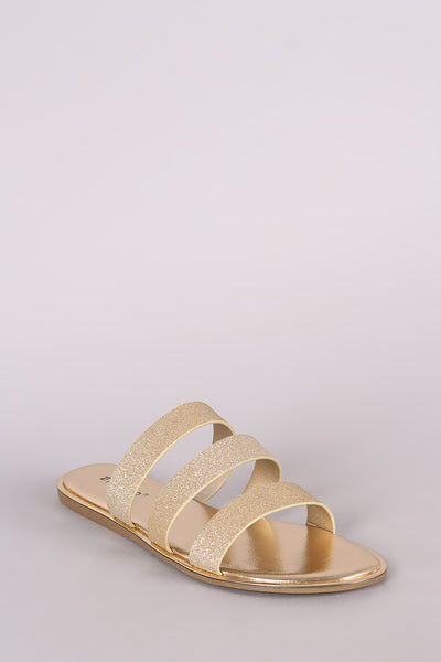 Triple Band Slide Flat Sandal For Women By Bamboo | Women Fashion Glitter A Triple Bands Across Vamp Metallic Trim Along The Edge Triple Band Slide Flat Sandal