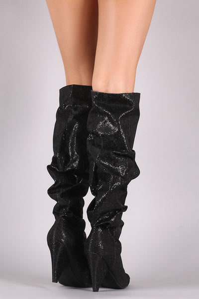 Cone Heel Knee High Boots For Women By LUD | Shop Women's Fashion Lovely Stylish Fashionable Boots Slouchy Glitter Grid Pointy Toe Cone Heel Knee High Boots