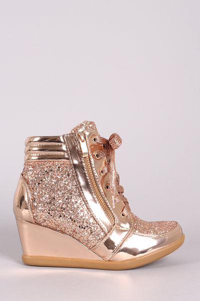 High Top Wedge Sneakers For Women By Liliana | Women Sparkling Glitter Encrusted Lace-Up High Top Wedge Sneaker With Decorative Zipper Trim And Covered Wedge Heel For Women