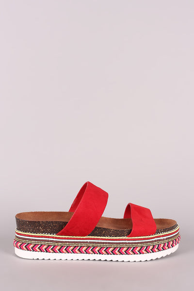 Stripe Flatform Sandal For Women By Bamboo | Shop Women's Fashion Suede Double Band Stripe Flatform Sandal For Women Very comfortable Bamboo Women's Sandal