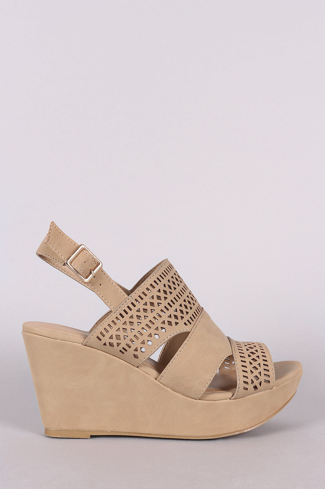 Perforated Nubuck Slingback Platform Wedge