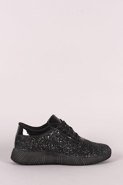 Soft Sole Sneakers Lace Up Glitter Sneakers By LUD | Ridge Sole Glitter Lace Up Sneakers
