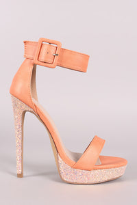 Shoe Republic LA Buckled Ankle Strap Glitter Platform Heel