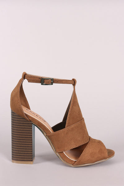 Bamboo Triple Panel Vamp Peep Toe Stacked Heel
