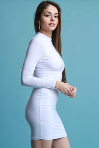 Long Sleeve Bodycon Dress By Mock Neck Dresses For Women | Mock Neck Long Sleeves Bodycon Dress