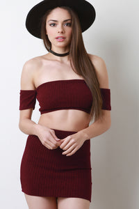 Bardot Dresses For Women Crop Top Two Piece Dress By Crop Bardot | Crop Bardot Two Piece Dress Two Piece Dress For Women
