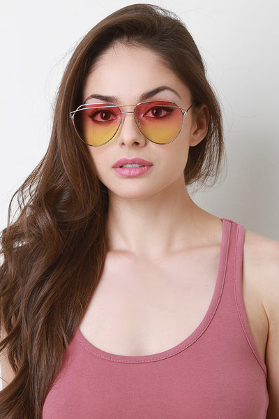 Brow Bar Tinted Wired Aviator Sunglasses