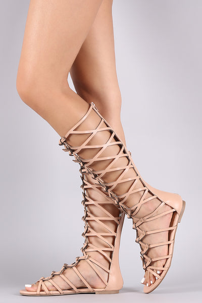Studs And Knotted Gladiator Flat Sandal