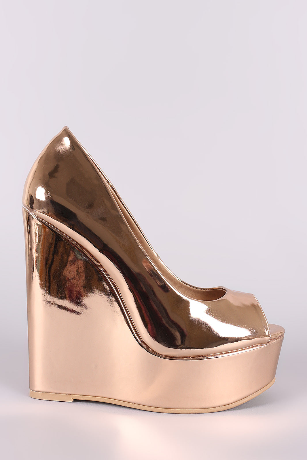 Rose Gold Patent Leather Wedges Vegan Wedge By Vegan Leather | Peep Toe Vegan Patent Leather Platform Wedge
