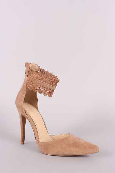 Lace Ankle Strap Pumps Vegan Pumps By Republic LA d'Orsay | Shoe Republic LA d'Orsay Scallop Ankle Lace Pointy Toe Pump