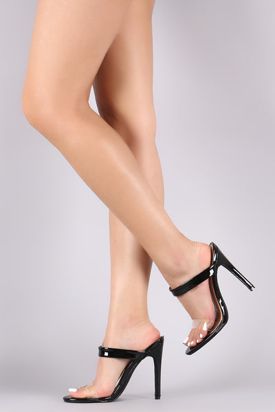 Patent Double Band Clear Stiletto Mule Heel
