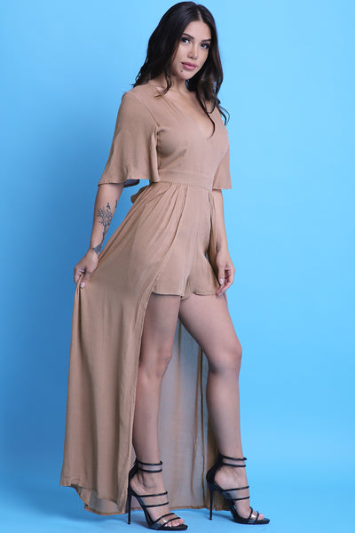 Flutter Sleeve Romper Maxi Dress