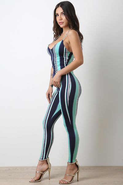 Striped Half-Zip Catsuit Jumpsuit