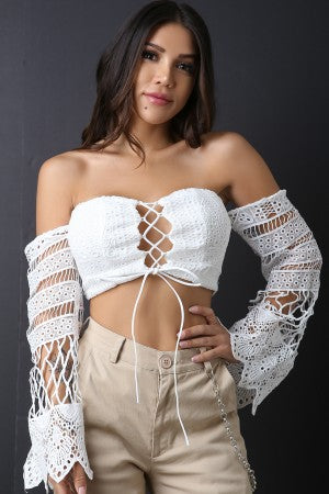 Off The Shoulder Crochet Lace Up Crop Top