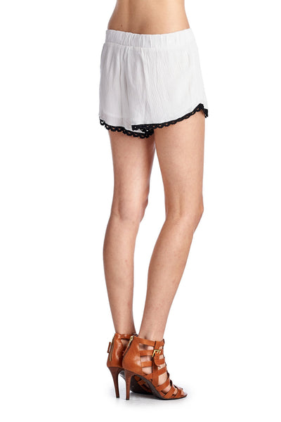 Women's Crochet Hem Shorts with Tassel Ties