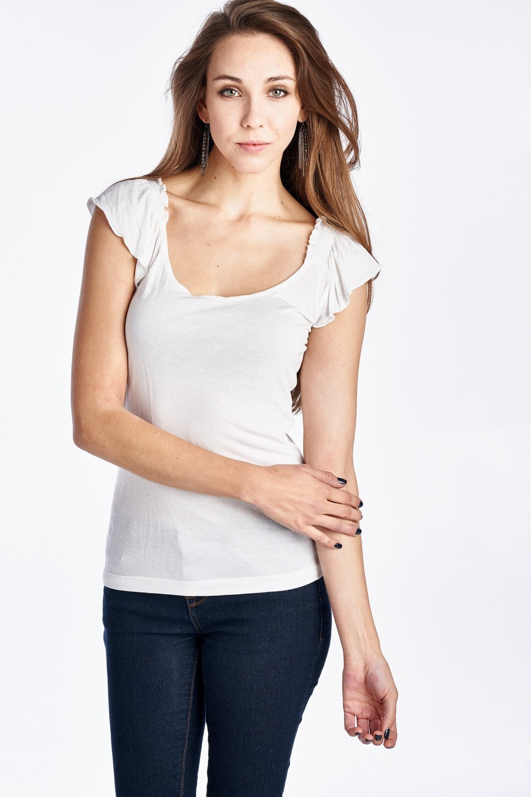 Women's Jersey Flutter Sleeve Top