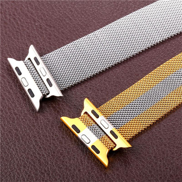 Apple Watch Band 38MM/42MM with Protective Case Gold/Black Gun Plated Milanese Loop Magnet Lock Stainless Steel Replacement iWatch Straps
