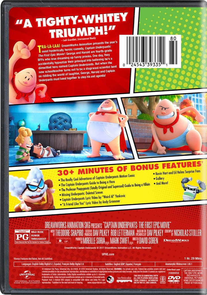Captain Underpants Dvd The First Epic Movie Dreamwork Kevin Hart Ed Lud Wholesale