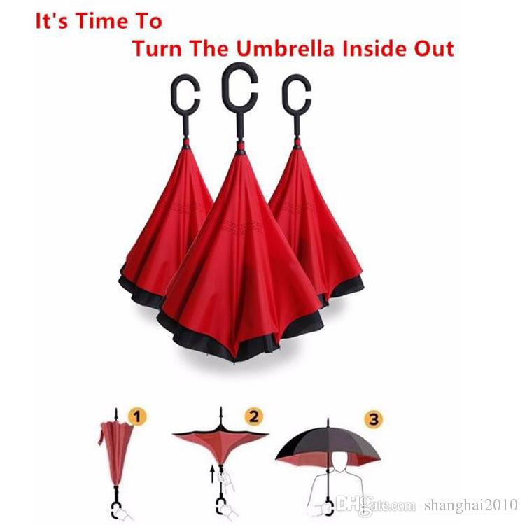Creative Inverted Umbrellas Double Layer With C Handle Inside Out Reverse Windproof Umbrella 34 colors OOA867 30pcs