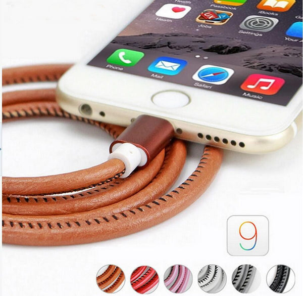 iPhone Charger 2016 Original 100cm Super Strong Leather Metal Plug Micro USB Cable for iPhone 6 6s Plus 5s 5 iPadmini / Samsung - 10 PCS