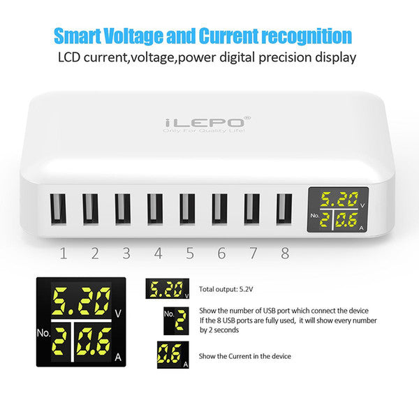 iLepo 8 Ports USB Charging Station Wall Charger AC Adapter 5V8A Fast Phone iPad Desktop Chargers Plugs with Al Power Tech retail package 10p