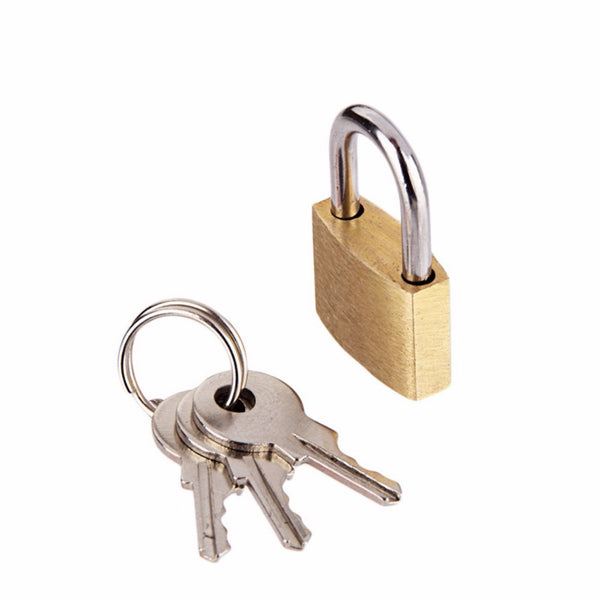 Brass Padlock Metal Mini Brass Tiny Lock Travel Luggage Suitcase Bag Padlocks With Key Anti-theft Locks - 6 PCS