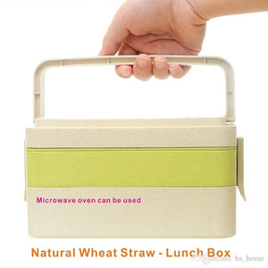 Natural wheat straw lunch box, 2-3 layer 6 sets, comes with cutlery, anti-spill student lunch box, Microwave oven available.