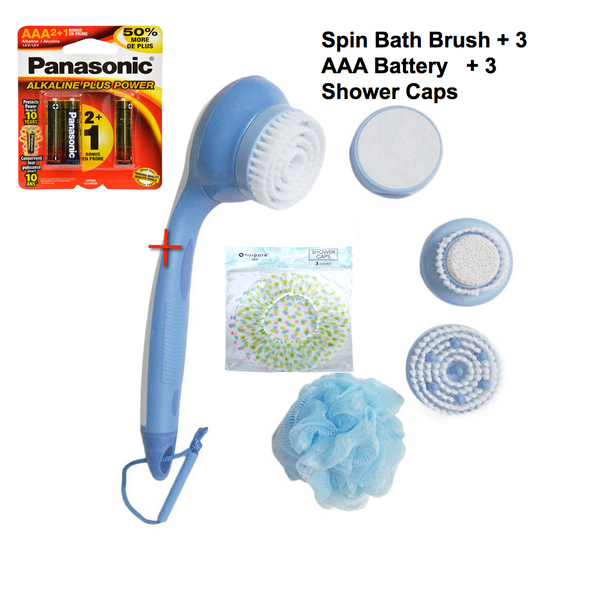 Spin Brush Cleaner System By Pacific | Scrubber Body Brushes For Men & Women Scrub Shop 5-in-1 Powered By Electro AAA Batteries Kit