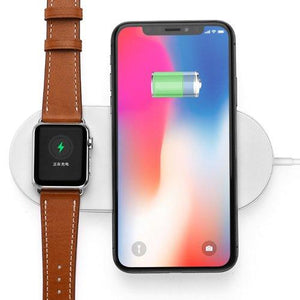 Wireless Qi Charger Galaxy Cordless iPhone 8 Plus Fast Charging 2 in 1 Charger Universal Charge Compatibility Apple Watch