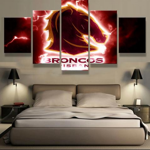 5 Piece Brisbane Broncos Framed Canvas Print