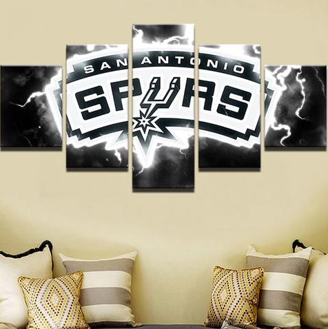 5 Piece San Antonio Spurs Basketball Framed Canvas Print