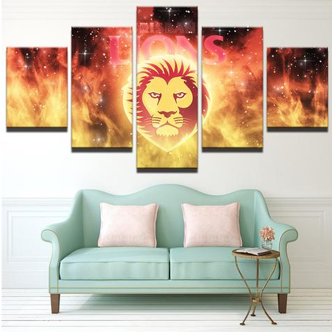 5 Piece Brisbane Lions Framed Canvas Print
