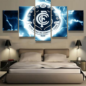 5 Piece Carlton FC Framed Canvas Print