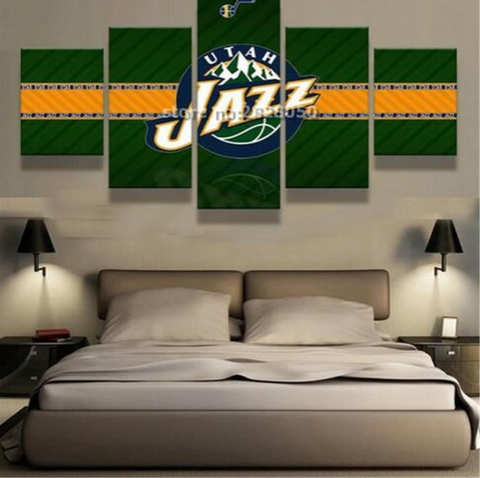 5 Piece Utah Jazz Basketball Framed Canvas Print