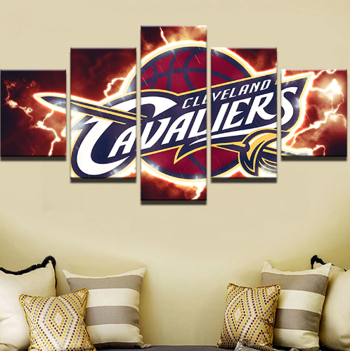 5 Piece Clevland  Cavaliers Basketball Framed Canvas Print