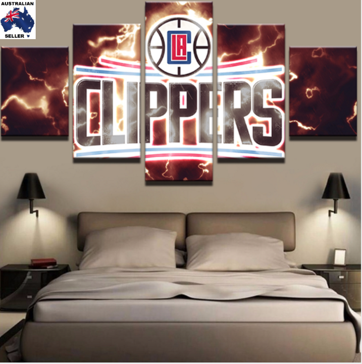 5 Piece LA Clippers Basketball Framed Canvas Print