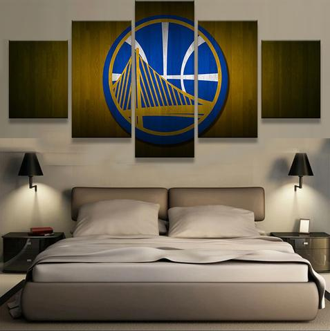 5 Piece Golden State Warriors Basketball Framed Canvas Print