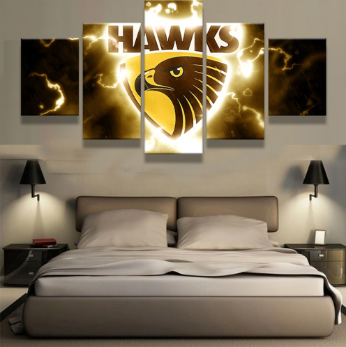 5 Piece Hawthorn Hawks Framed Canvas Print
