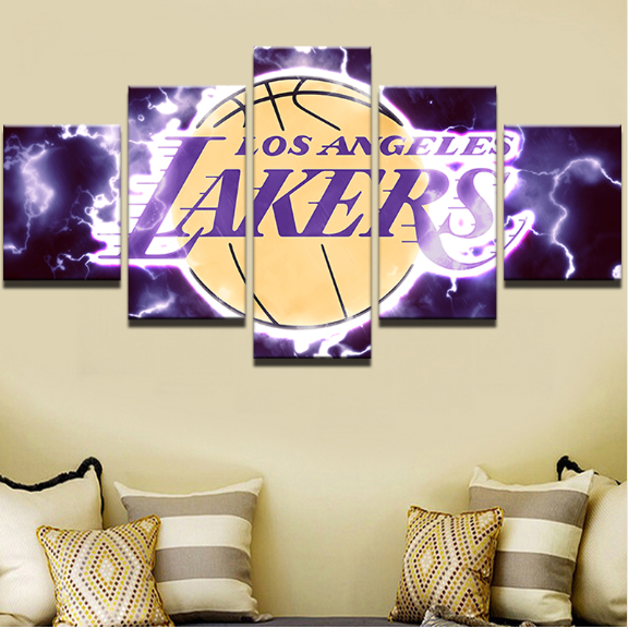 5 Piece La Lakers Basketball Framed Canvas Print