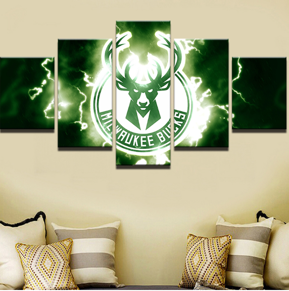 5 Piece Milwaulkee Bucks Basketball Framed Canvas Print