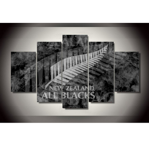 5 Piece New Zealand All Blacks Framed Canvas Print