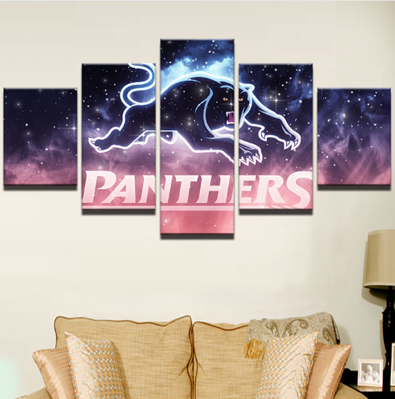 5 Piece Penrith Panthers Framed Canvas Print