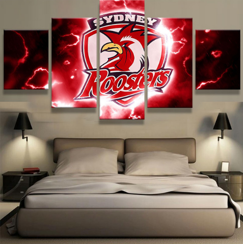 5 Piece Sydney Roosters Framed Canvas Print