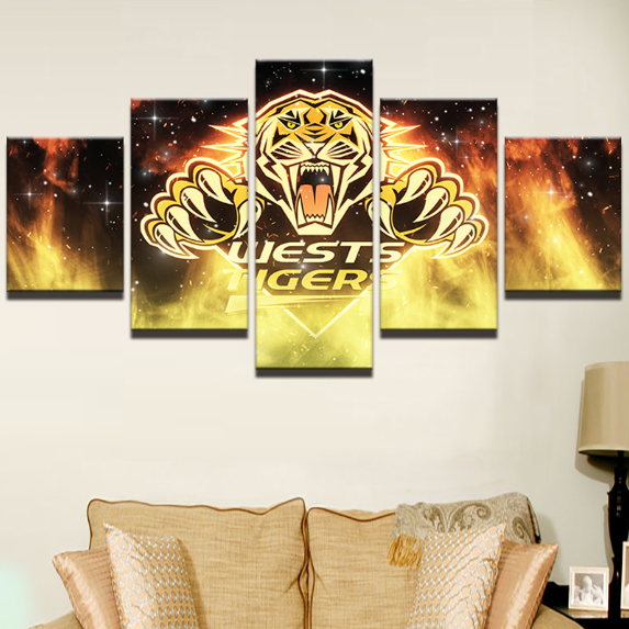 5 Piece West Tigers Framed Canvas Print