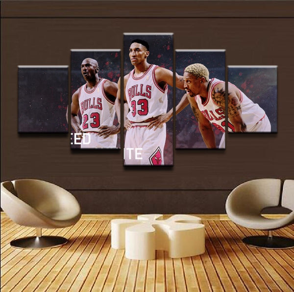 5 Piece Chicago Bulls Superstars Framed Canvas Print