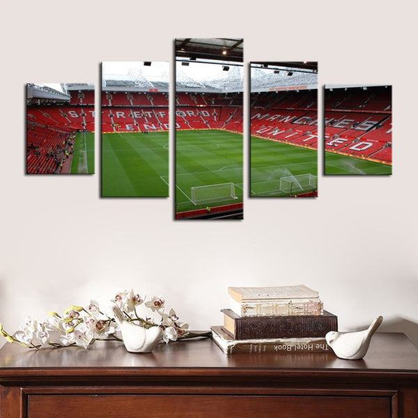 5 Piece Manchester United Famous Football Stadium Framed Canvas Print