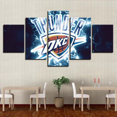 5 Piece OKC Thunder Basketball Framed Canvas Print