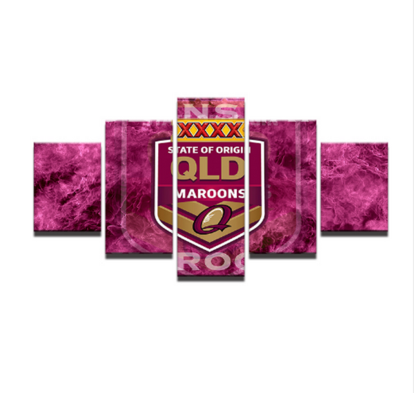 5 Piece Queensland Maroons State of Origin Framed Canvas Print