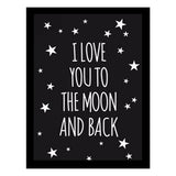 To the moon and back Black Wall Print