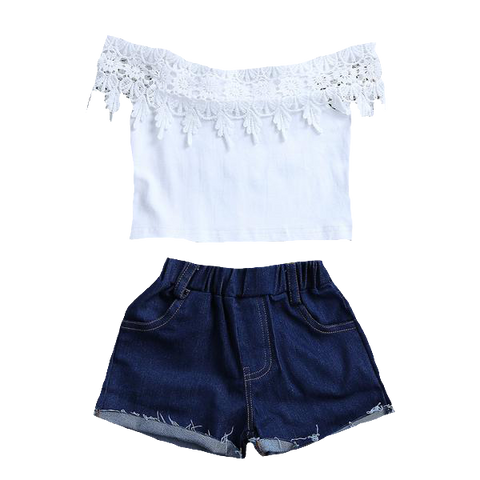 Off Shoulder Crochet Crop Top + Denim Shorts